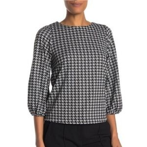 NWT Everleigh Nordstrom Puff Sleeve Printed Top